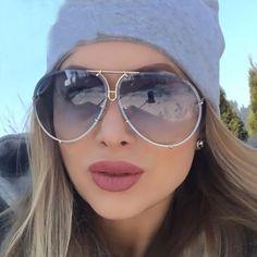 70f2c0e56ee5 BAMONA Oversized 2017 New Aviation Famous Brand Designer Women Men Mirror  Pilot Sunglasses Driving Sun Glasses