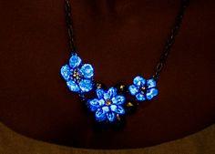 Gloed in de donkere bloem ketting verklaring ketting, blauw, kristal ketting, partij, slabbetje ketting, gloeien, bloemen, bruidsmeisje ingesteld, bruiloft