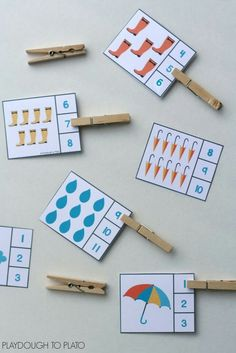 Over 25 sets of themed count and clip cards… great for preschool and kindergarten math centers! Over 25 sets of themed count and clip cards… great for preschool and kindergarten math centers! Weather Activities For Kids, Preschool Weather, Counting Activities, Spring Activities, Preschool Learning, Preschool Activities, Teaching, Preschool Centers, Science Classroom