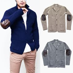 Leather Patch Slim Wool Jacket Sweater-Knit 112 - GUYLOOK