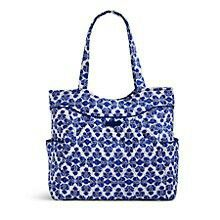 Pleated Tote in Cobalt Tile.