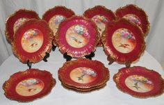 Wonderful Set of 12 Antique LIMOGES Plates Featuring French Tea Roses and Wild Game Birds ~ Listed Artist 'Bronssillon'~ Completely Hand Painted Originals ~ Breathtaking ROSES