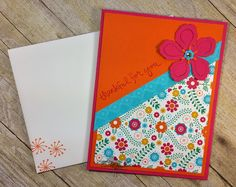 STAMPIN' UP! CHICKSTAMPER-Thankful For You! I love the bright colors of the Festive Birthday Designer Paper! Click on photo for all supplies used! :)