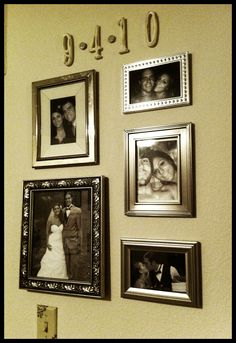 different sized silver frames with black & white photos. Our wedding date: wooden numbers from Michaels painted cream with a little black for a vintage-y look, and book page covered buttons coated in mod podge!