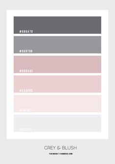White Bedroom with Blush and Grey Colour Scheme Blush Color Palette, Bedroom Colour Palette, Pink Color Schemes, Bedroom Color Schemes, Mauve Color, Blue Color Combinations, Color Schemes Colour Palettes, Baby Pink Colour, Blush Bedroom