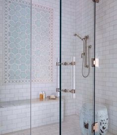 Shower Tiling Design. New Shower Tile Design Ideas. The Shower Tiles are from Ann Sacks. Shower tiling with garden stool in the shower. #ShowerTiling #AnnSacks Collins Interiors