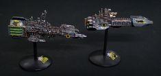 Storm Wolf and Stormblade - Space Marine Strike Cruisers  Svyatoslav Karyagin / Spellscape  - Battlefleet Gothic @ Specialist Arms