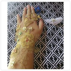 Gold lace wedding gloves and ring lace