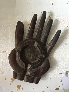 Beautiful handcarved wood / hand wood ashtray collectible, hand carved, unique handmade souvenir Bali, dark brown