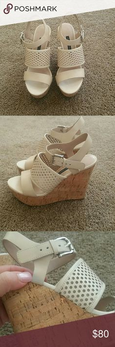 🎉HP🎉 8/20  French  Connection  Cream Wedges sz 6 🎉H/P🎉 8/20 Beautiful French Connection Cream Wedges  size 6 Three straps, the middle strap is polka-dot  with a mesh backing. Silver  adjustable  buckle at ankle. Great condition please note the 3rd pic shows very minor wear on outside straps  4th pic shows the slightest discoloration on the inside bottom strap very hard to notice. Worn once purchased from Nordstrom  this season French Connection Shoes Wedges
