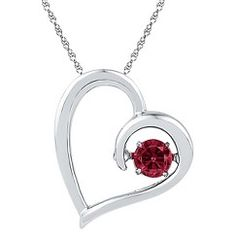 """Lab Created Ruby Prong Set Heart Pendant in Sterling Silver (IJ-I2-I3) (18"""") Get unbelievable discounts at Target for Valentine's Day with coupon and Promo Codes."""