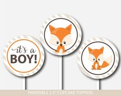 Woodland cupcake toppers, Fox cupcake toppers, Forest animal cupcake topper, BF3-11