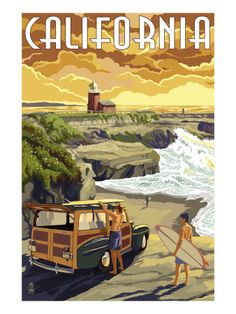 Santa Cruz, California - Woody and Lighthouse - Lantern Press Artwork Giclee Art Print, Gallery Framed, Espresso Wood), Multi Santa Cruz California, Monterey California, California Coast, Oregon Coast, Cambria California, Vintage California, California Travel, Monterey Bay, Cayucos California