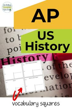 A strong knowledge of vocabulary is one of the most important factors for success on the AP U.S. History test. Vocabulary squares are a great way to teach, learn, reinforce, and review all of the vocabulary terms students might encounter on the exam. Be sure to check it out! #APUSHistory #Vocabulary #DrLoftinsLearningEmporium School Resources, Classroom Resources, Teacher Resources, Ap Us History, American History, Ap Test, High School Classroom, Factors, Social Studies