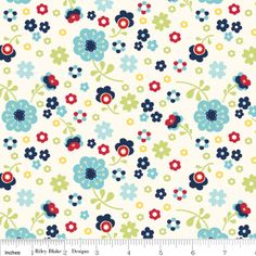 Blue and Red Floral Fabric, Dress Up Days For Riley Blake, Floral Print in Blue, 1 Yard. $5.95, via Etsy.
