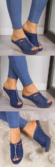 Wedge Sandals Outfit, Denim Sandals, Sneakers Fashion, Fashion Shoes, Beautiful Sandals, Platform High Heels, Comfortable Sandals, Hot Shoes, Shoe Boots