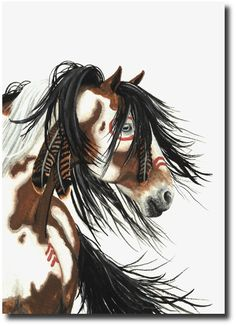 Majestic Mustang Indian War Paint Pinto Horse   by AmyLynBihrle