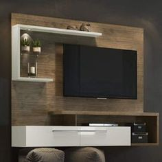 Panel for TV up to 60 Inches 2 Doors Jurerê Siena Furniture - Viva Decora - Decorate your home with this beautiful TV panel. See also these models of panel for tv room and pan - Living Room Partition Design, Pooja Room Door Design, Tv Wall Design, Home Room Design, Tv Unit Interior Design, Tv Unit Furniture Design, Interior Design Living Room, Living Room Decor, Modern Tv Room