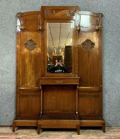School of Nancy Art Nouveau period: Large coat rack in - Catawiki Art Nouveau Furniture, Umbrella Holder, Marquetry, Fresco, Period, Mirror, School, Coat, Home Decor