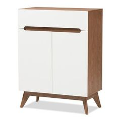 Calypso Mid - Century Modern Wood Storage Shoe Cabinet - Brown - Baxton Studio