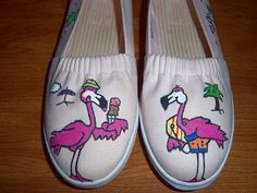 Hand Painted Flamingo Pink Canvas Shoes