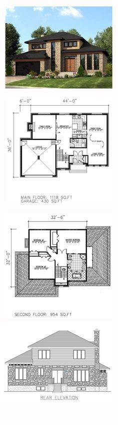 151 best modern Home Plans images on Pinterest   Modern townhouse     Contemporary Modern House Plan 50323