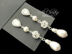 Long Bridal Earrings // Pearl // Vintage// Long Length // Wedding // Cubic Zirconia // Rhinestone // Swarovski Pearl Jewelry