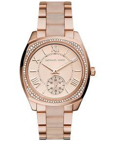 Michael Kors Women's Bryn Blush Acetate and Rose Gold-Tone Stainless Steel Bracelet Watch 40mm MK6135