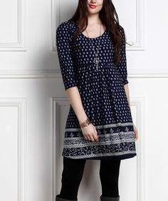 Look at this Navy Border Empire-Waist Tunic Dress - Plus Too Casual Work Outfits, Chic Outfits, Trendy Outfits, Casual Dresses, Fashion Dresses, Short Kurti Designs, Kurta Designs, Blouse Designs, Moda Indiana