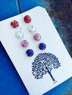 Real Flower Petals Preserved in Eco Resin Earrings by JupiterOak