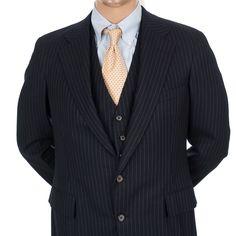 Polo Ralph Lauren 3 pc Suit Pinstripe 41R Mens Blazer Vest Pants Wool 2 Button #RalphLauren #TwoButton #MensSuit #SomeLikeItUsed