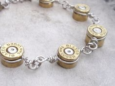 Recycled Blazer Gun Bullet Casing Bracelet, UpCycled Original Jewelry Art by Artifacts N Relics, WANTT! Ammo Jewelry, Wire Jewelry, Jewelry Crafts, Jewelry Art, Jewelery, Jewelry Bracelets, Jewelry Accessories, Handmade Jewelry, Jewelry Design