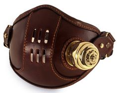 STEAMPUNK LEATHER Mask brown leather new VNT Raider design