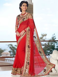 Buy Red Georgette Saree with Resham Embroidery Work Online in USA, UK - Saree.com