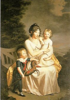 Portrait of Henriette von Heintze with her children, 1803, by Friedrich Carl Gröger (1766-1838)