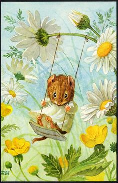 DRESSED-MOUSE-on-a-Swing-by-RACEY-HELPS-Postcard