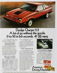 1981 Advertisement Dodge Charger 81 Muscle Economy Car Red Driving Machine Two Door Garage S Vintage Advertisements, Ads, Dodge Srt, Bentley Mulsanne, Best Classic Cars, Classic Auto, Car Advertising, Us Cars, Economy Car