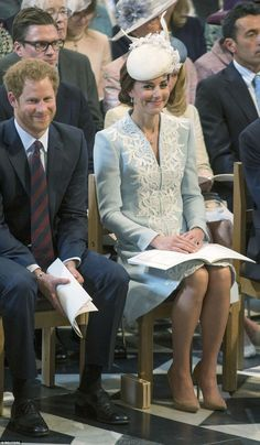Private joke: The Duchess of Cambridge was kept entertained by Prince Harry at today's thanksgiving service for the Queen