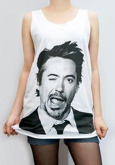 ROBERT Downey Jr Shirt Iron Man Shirt Tank Top Women Shirt Tunic Top Sleeveless Singlet White T-Shirt Sleeveless Screen Print Shirt Size M. $17.99, via Etsy.
