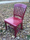 This library chair was beaten, used, and in need of an update. So a little love, sanding, some stain barn red and the new life started.