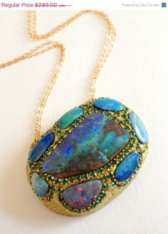 VSALE Amazing fire Opal Pendant by YaronaJewelryDesign on Etsy, $260.10