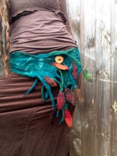 The 'River Roots' Woodland Pixie Belt of Felted Tree Roots and Embroidered Leaves Earthy Festival Clothing Fae Mermaid Larp Cosplay Faerie