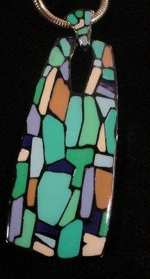 Vintage Eisenberg ENAMEL Large ABSTRACT ART Dangle Pendant Necklace | eBay