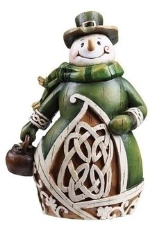 From the Irish Gifts - Celtic Charm Collection Snowman features a carved woodcut style with an aged finish. Snowman is adorned with celtic imagery, includin Christmas Snowman, Christmas Holidays, Christmas Decorations, Christmas Ornaments, Christmas Things, Christmas Ideas, Kitchen Decorations, Green Christmas, Father Christmas