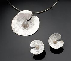 floating lily earrings & pendant: chi cheng lee: silver & pearl jewelry - artful home