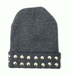 Put two rows of dome studs on a simple grey beanie for an updated winter look.. DIY the look yourself: http://mjtrends.com/pins.php?name=round-studs-for-hat