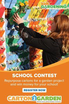 The Carton 2 Garden Contest is a school contest for repurposing milk cartons and juice cartons into a garden structure. Transform milk cartons to win! Garden Projects, Projects For Kids, Milk Cartons, Win Money, Garden Features, Sustainability, Repurposed, Cool Pictures, School Gardens