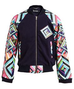 HOUSE OF HOLLAND - Kaleidoscope Leather and Sweatshirt Varsity Jacket