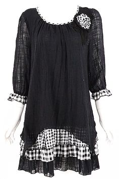 Black Layered Gingham Tunic www.blondellamydean.com