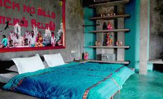 Turquoise bedroom - interior decorating for Indian style - Decors art | decorating ideas, painting, Fireplace, Turquoise bedroom